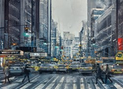 Blurred Lights by Ziv Cooper - Original Painting on Box Canvas sized 25x18 inches. Available from Whitewall Galleries